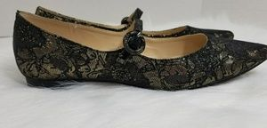 Marc Fisher 7.5 Black Gold Jacquard Mary Janes
